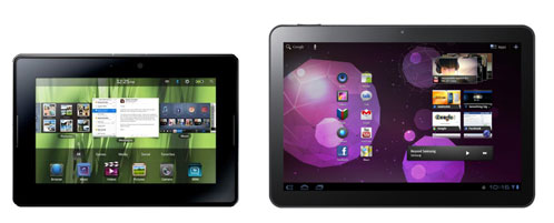 BlackBerry Playbook contra Samsung Galaxy Tab 10.1v de Vodafone