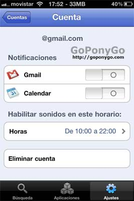 Notificaciones push en Gmail desde el iPhone