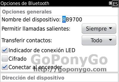 Opciones Bluetooth Blackberry