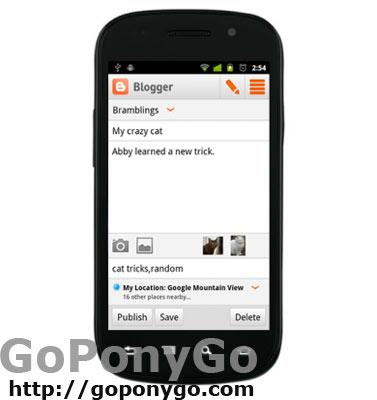 Aplicación Blogger para Android