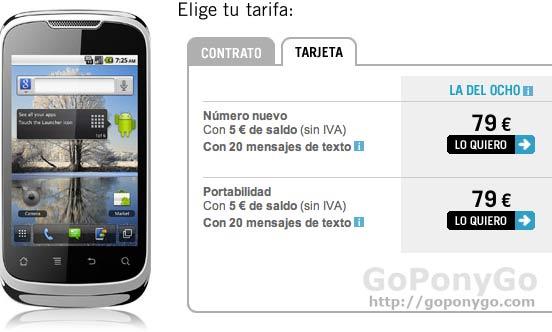 Huawei u8650, un gran móvil Android desde 79 euros en prepago con Yoigo