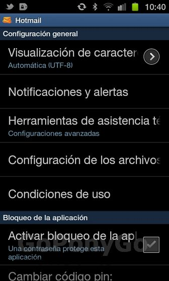 Análisis app hotmail android 11