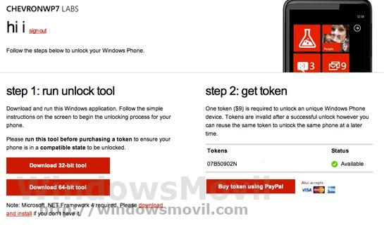 Desbloqueo Windows Phone