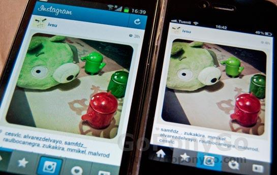 Comparativa entre Instagram para iPhone e Instagram para Android