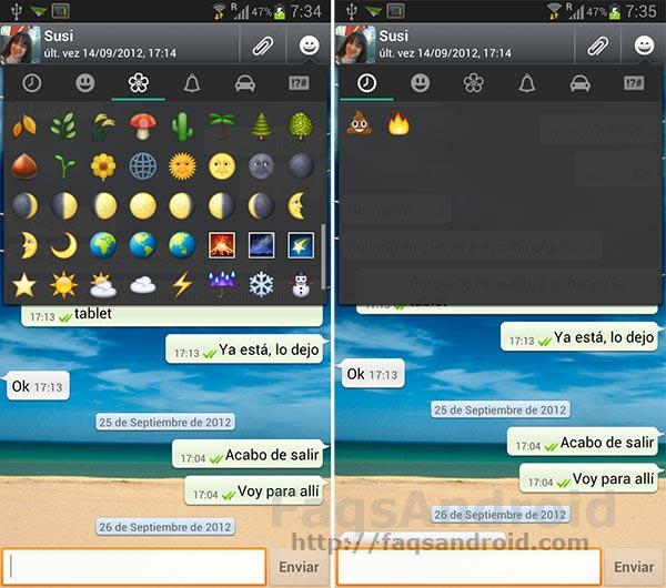 Nuevos iconos emoji en la última actualización de Whatsapp para Android