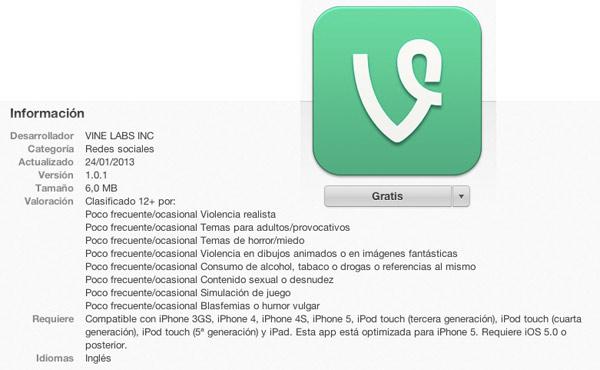 Red Social Vine para iOS
