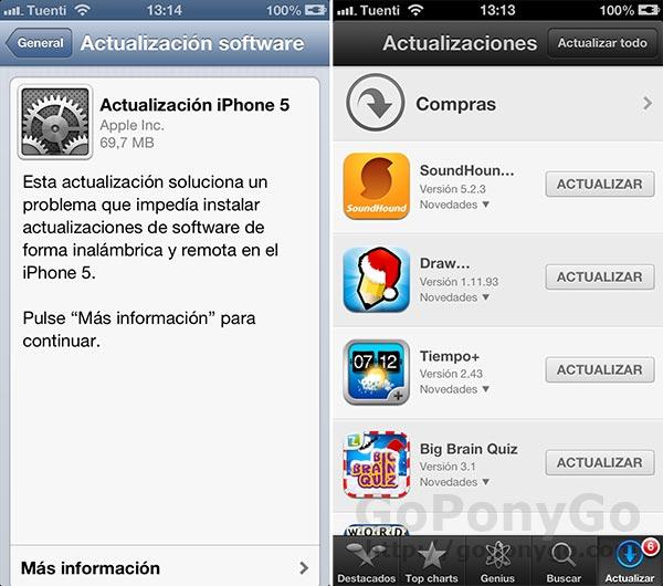 Actualizaciones del Sistema operativo IPHONE Y ANDROID
