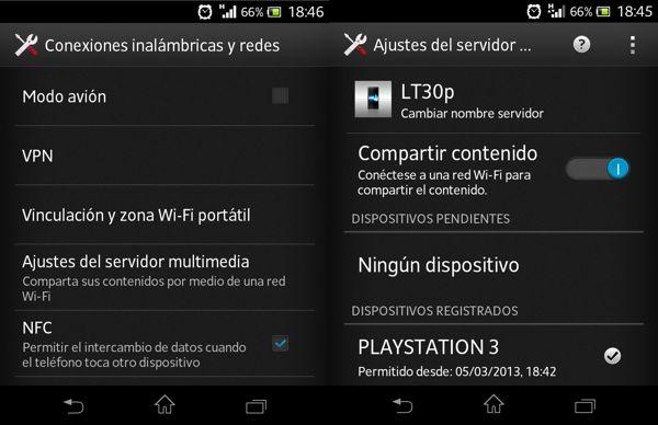 Configurar DLNA Sony Xperia T